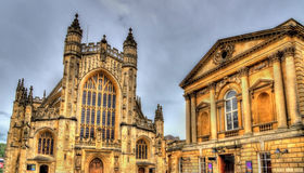 The Roman Bath and Bath Abbey Stock Photos