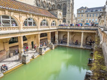 Roman Bath with Bath Abbey Royalty Free Stock Photography