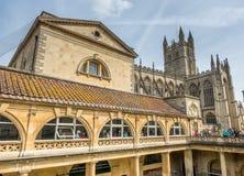Roman Bath con la abadía del baño Fotos de archivo libres de regalías