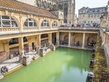 Roman Bath con la abadía del baño Fotografía de archivo libre de regalías