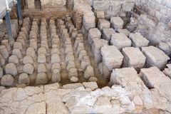 Roman bath house in the ancient city of Bet Shean. View of the heating system of a Roman bath house in the ancient city of Bet Shean, now a national park stock photo