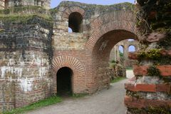 Roman Bath Ruins; Trier Germany. This is a closeup of some of the ancient Roman ruins in Trier Germany stock image