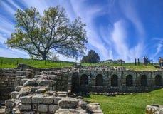 Roman Bathhouse Ruins på det Chesters fortet på den Hadrians väggen Royaltyfria Foton
