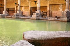 Roman Baths. In Bath, England stock images