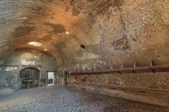 Roman baths at the ancient city of Herculaneum Royalty Free Stock Photo