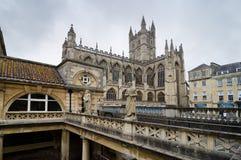 Roman Baths ancient spa, Bath, UK. Roman Baths Ancient Spa And Bath Abbey, Bath, England Stock Photos