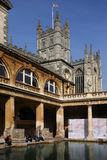 Roman Baths & Bath Abbey - England Stock Photo