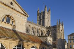 Roman Baths and bath abbey, England Royalty Free Stock Images