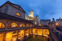 Roman Baths and Bath Abbey at Night Royalty Free Stock Image