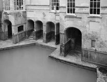 Roman Baths in Bath in black and white. BATH, UK - CIRCA SEPTEMBER 2016: Roman Baths ancient spa in black and white Royalty Free Stock Images