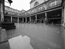 Roman Baths in Bath in black and white. BATH, UK - CIRCA SEPTEMBER 2016: Roman Baths ancient spa in black and white Royalty Free Stock Photo