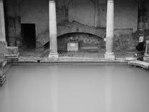 Roman Baths in Bath in black and white Stock Photos