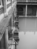 Roman Baths in Bath in black and white. BATH, UK - CIRCA SEPTEMBER 2016: Roman Baths ancient spa in black and white Royalty Free Stock Photography