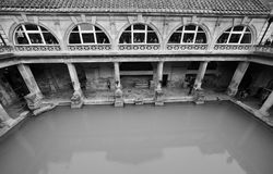 Roman Baths in Bath in black and white Stock Image