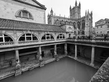 Roman Baths in Bath in black and white. BATH, UK - CIRCA SEPTEMBER 2016: Roman Baths ancient spa in black and white Royalty Free Stock Photos