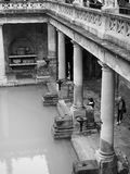 Roman Baths in Bath in black and white. BATH, UK - CIRCA SEPTEMBER 2016: Roman Baths ancient spa in black and white Royalty Free Stock Image