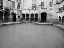 Roman Baths in Bath in black and white Stock Images