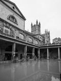 Roman Baths in Bath in black and white. BATH, UK - CIRCA SEPTEMBER 2016: Roman Baths ancient spa in black and white Stock Photography