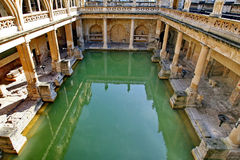 Roman Baths in Bath, England. The spa waters at the Roman Baths in Bath in Somerset, England.  A world heritage site Stock Image