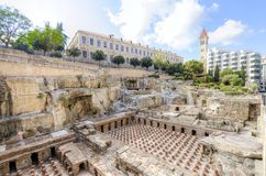 Roman Baths in Beirut, Lebanon. A view of the archaeological ruins of the ancient roman baths discovered in downtown Beirut, in Lebanon, surrounded by modern Royalty Free Stock Photography