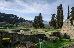 Roman baths in the city of Fiesole. Tuscany. Italy stock images