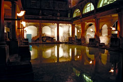 Roman Baths complex at night Royalty Free Stock Photo