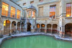 Roman baths and hot spring in. Ancient roman spa at bath England Stock Photos