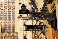 The Roman Baths. Iron signs for the Roman Baths of Bath, England Royalty Free Stock Photos