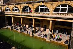 Roman Baths Museum, Bath, Uk. The Roman Baths complex is a site of historical interest in the English city of Bath. The house is a well-preserved Roman site for Royalty Free Stock Image