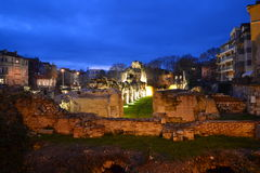 Roman Baths ruines at night Stock Photography