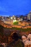 Roman Baths ruines at night Royalty Free Stock Photo