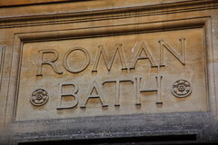 Roman baths sign in Bath Stock Image