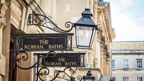 Roman Baths Sign in Bath England royalty free stock photos