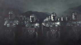 Roman Army Legion Standing in a Formation in a Battlefield
