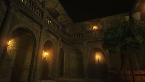 Roman Binnenplaats bij Nacht Stock Afbeelding