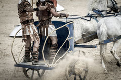 Roman blokkenwagen in een strijd van gladiatoren, bloedig circus Royalty-vrije Stock Fotografie