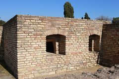 Roman brick oven from the Itálica ruins. In the village of Santiponce, Seville, Andalusia Spain Stock Images