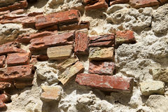 Roman Brick Wall antigo Imagem de Stock Royalty Free