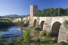 Roman bridge. Of frias in Burgos royalty free stock image