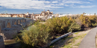 Roman bridge. Road, near the Roman bridge that leads to the Cathedral of Cordoba Royalty Free Stock Photography