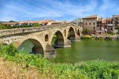 Roman bridge across the Arga river in Puente la Reina Royalty Free Stock Photos