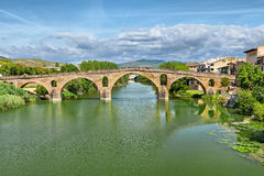Roman bridge across the Arga river in Puente la Reina Royalty Free Stock Images