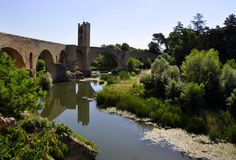 The Roman Bridge, Besalu, Spain Stock Image