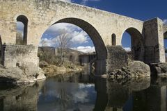 Roman bridge at Besalu, Spain Stock Image