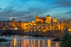 Roman bridge of Córdoba. Night view Stock Images