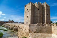 Roman bridge of Córdoba. And tower - daytime view Stock Images