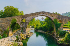 Roman bridge in cangas de onis Stock Image