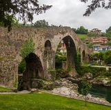 Roman bridge in Cangas de Onis royalty free stock photography