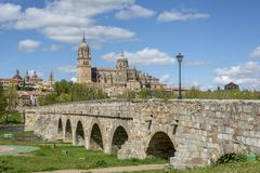 Roman bridge and cathedrals of Salamanca. Roman bridge over the river Tormes and in the background the cathedrals of Salamanca stock photo