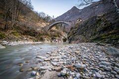 Roman bridge in Ceppo Morelli. Piemonte Italy Royalty Free Stock Photos